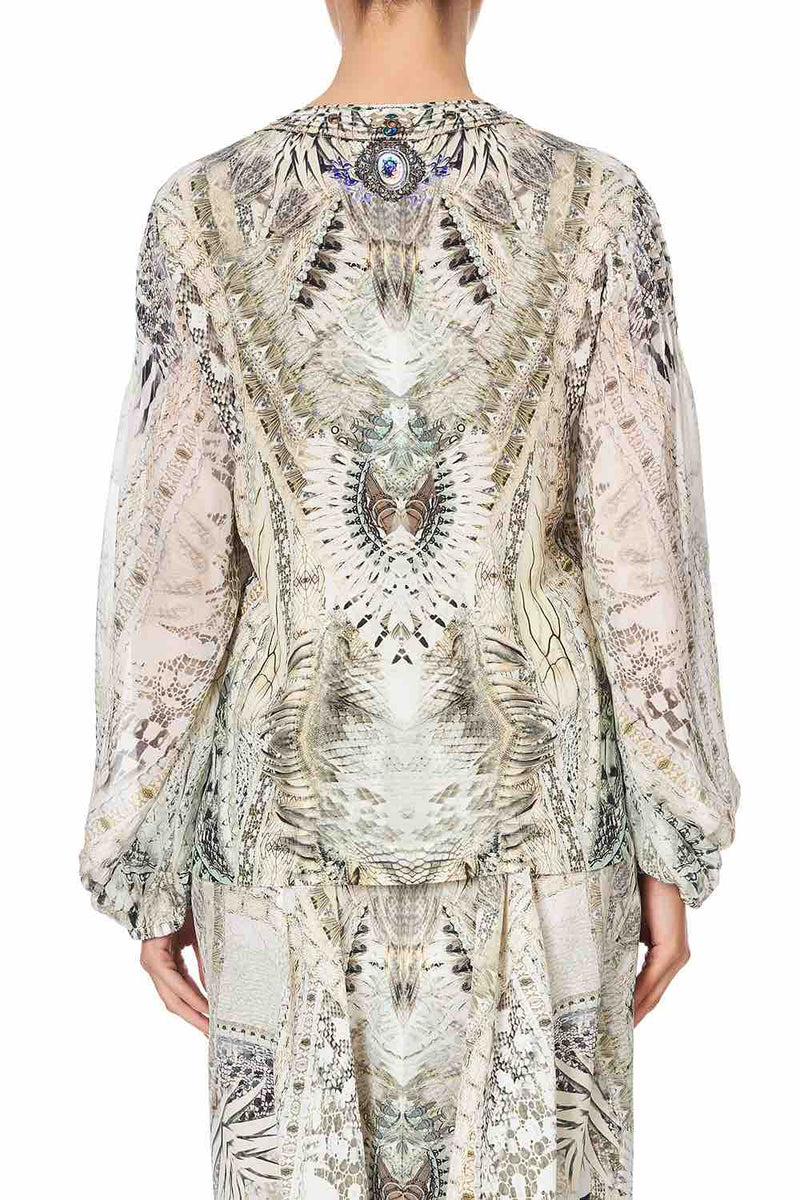 Camilla - Daintree Dreaming Peasant Blouse w/ Front Lacing
