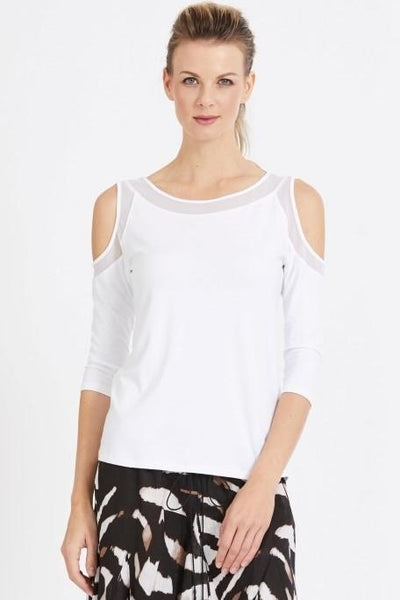 Paula Ryan - Easy Fit Mesh Detail Cold Shoulder Top