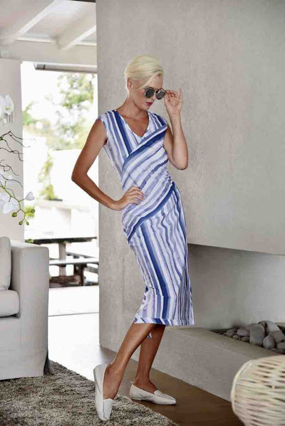 Paula Ryan - Painted Stripe Spliced Dress