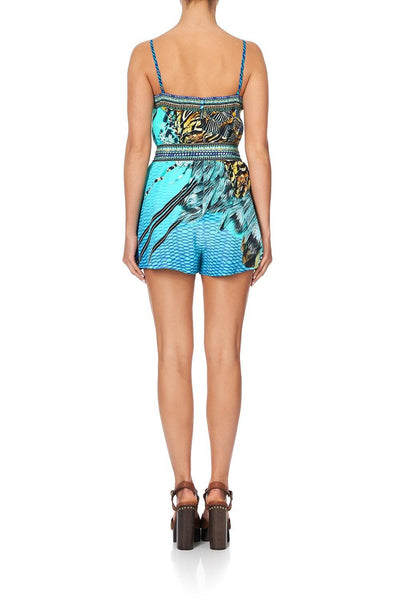 Camilla - Marine Queen V-Neck Playsuit w/ Bands