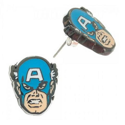 Captain America Face Stud Earrings
