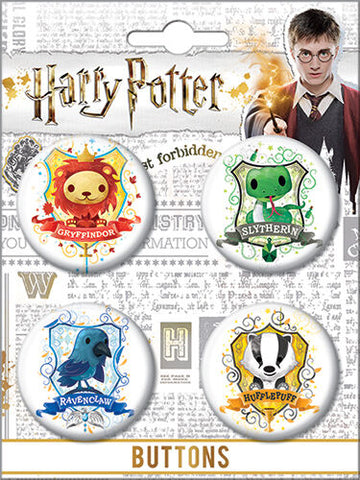 Harry Potter Chibi Crests Button Set