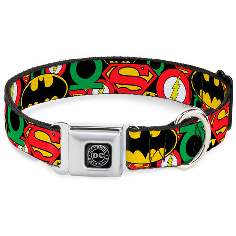Justice League Logo Collage Dog Collar