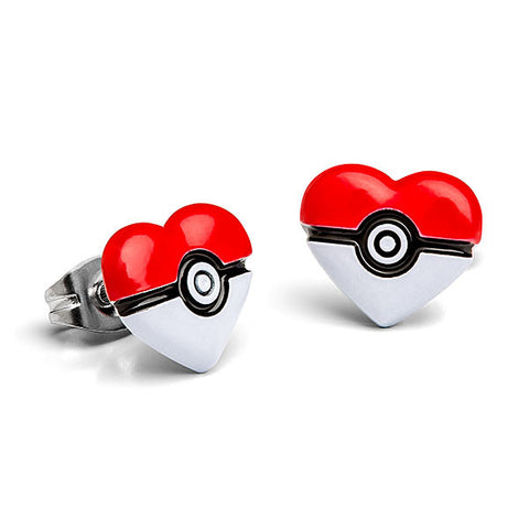 Pokemon Pokeball Heart Stud Earrings