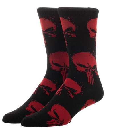 The Punisher Red Skulls Crew Socks