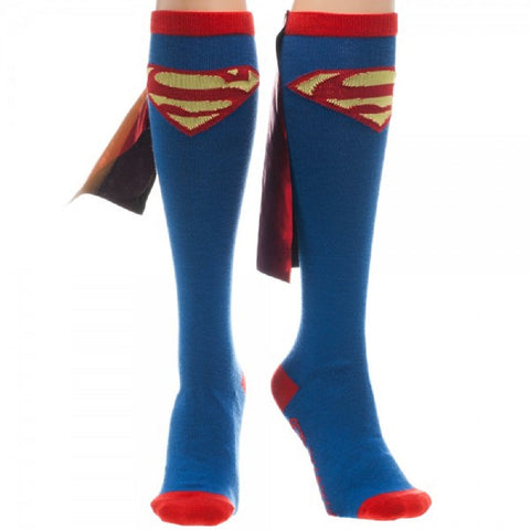 Superman Knee High Socks With Shiny Cape