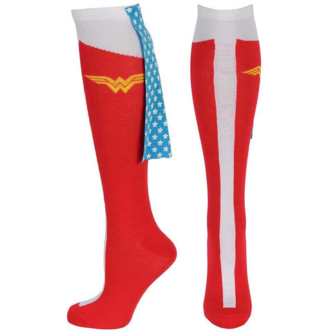 Wonder Woman Knee High With Stars Cape Socks