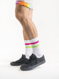 Neon White Retro Socks