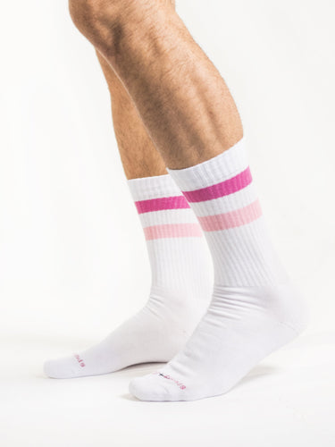 Pink Pink White Retro Socks