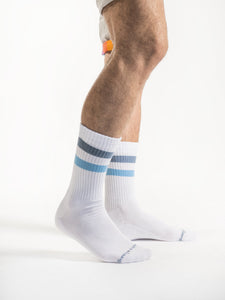 Blue Blue White Retro Socks