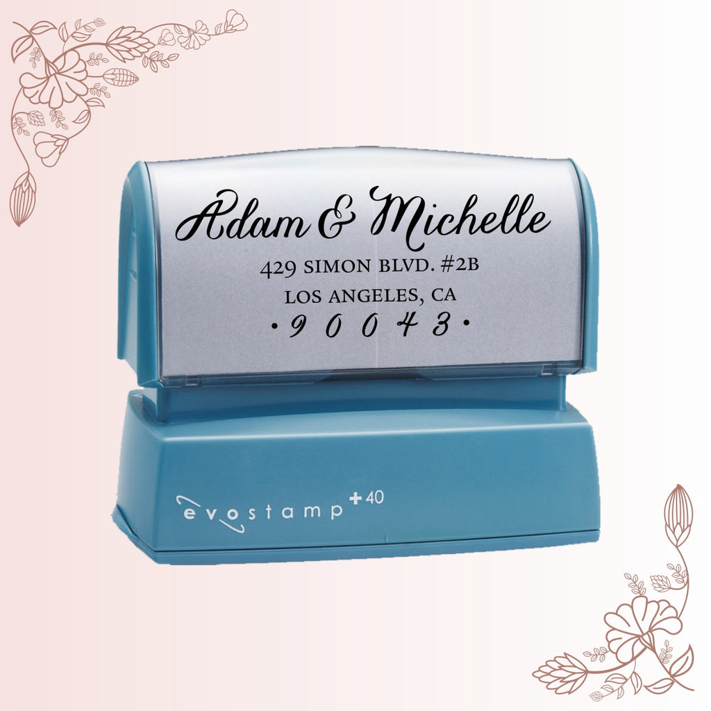 Flowing Cursive Address Stamp