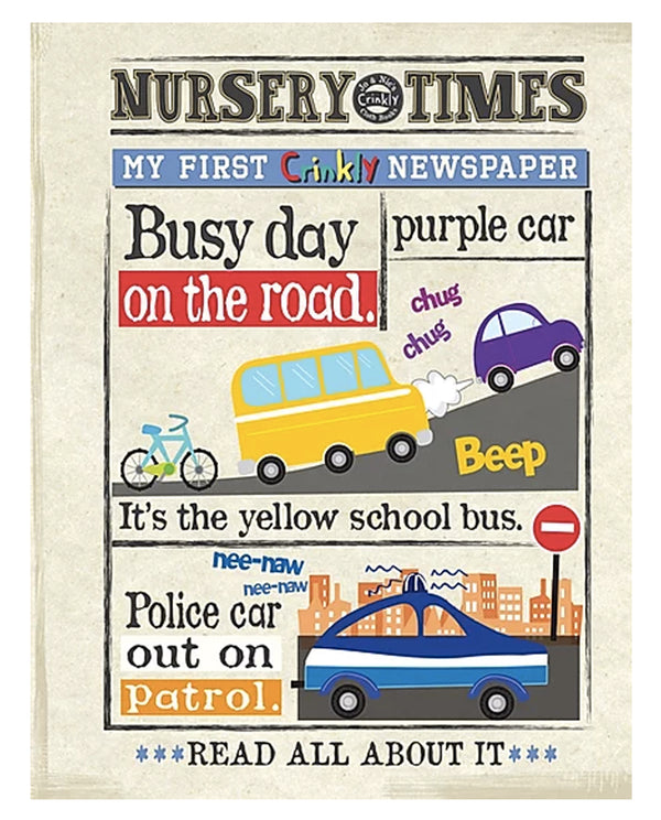 Busy Day on the Road - Nursery Times Crinkly Newspaper