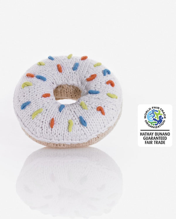 Pebble Toys Fair Trade Hand Knitted Donut Rattle