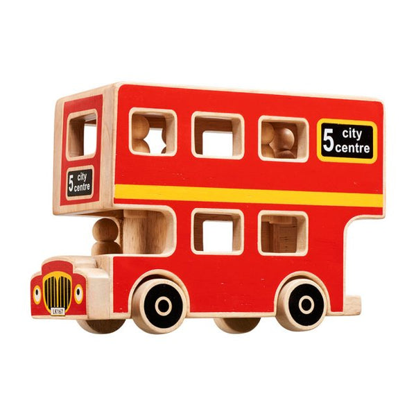 Wooden Double Decker Bus with 5 People
