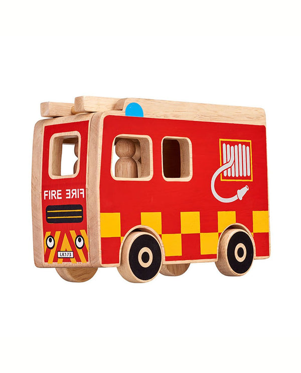 Wooden Fire Engine with 3 people