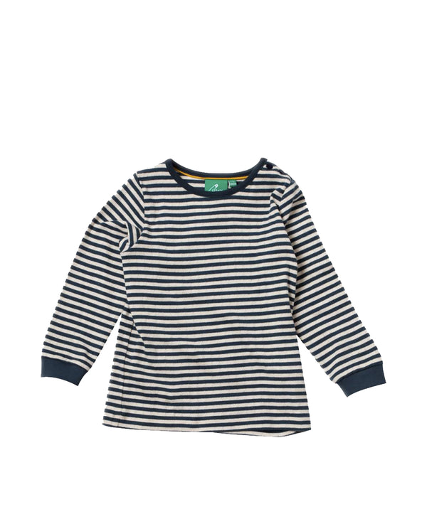 Pointelle Cotton Navy Long Sleeve Top
