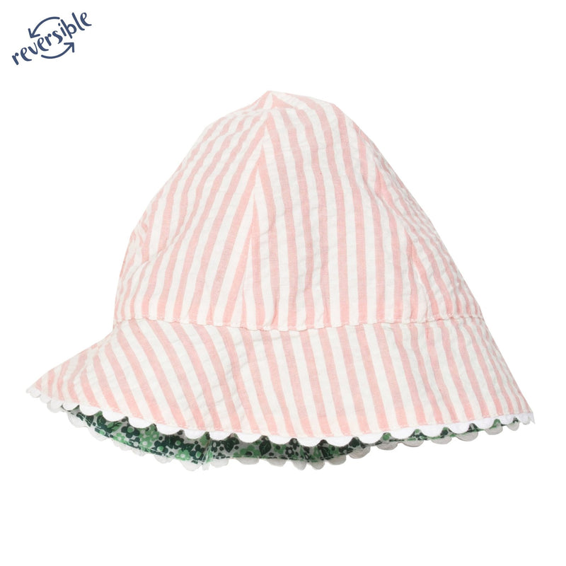 Candy Stripe and Floral Reversible Sun Hat