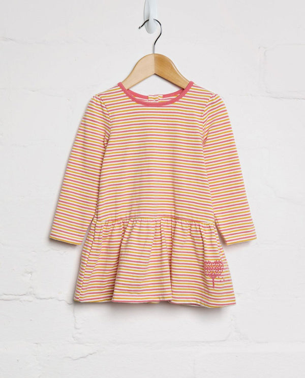 Organic Cotton Autumn Striped Heart Dress