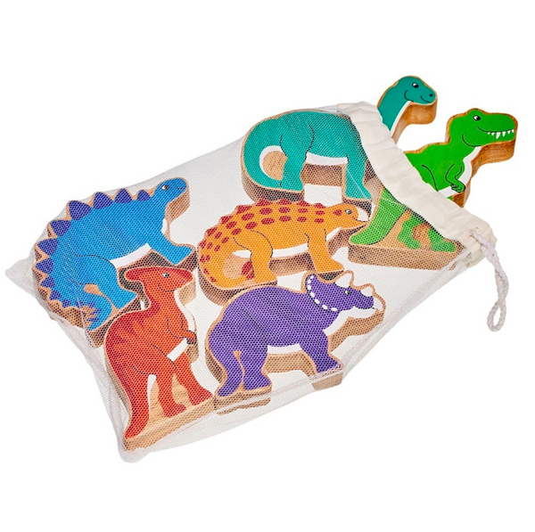 LankaKAde Bag of 6 Wooden Dinosaurs