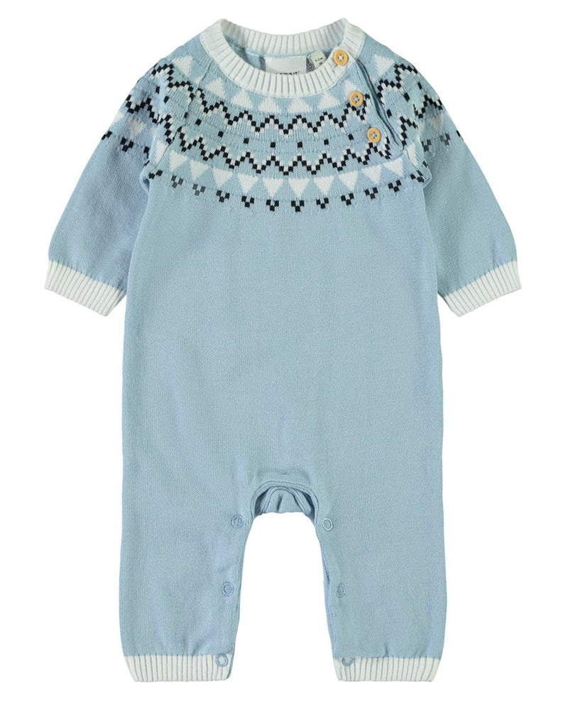 Organic Cotton Cashmere Blue Knitted Playsuit