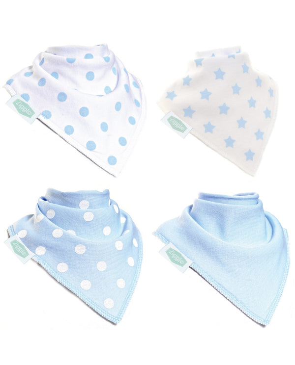 4pk Baby Blue Bib Set