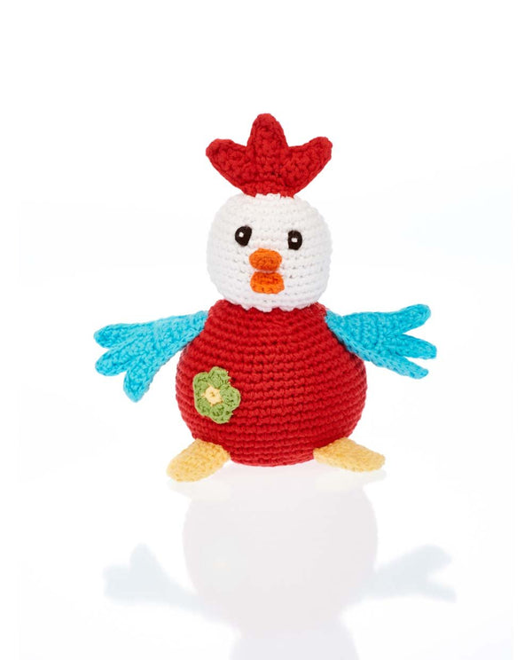 Fair Trade Hand Knitted Cockerel Pebble Toys