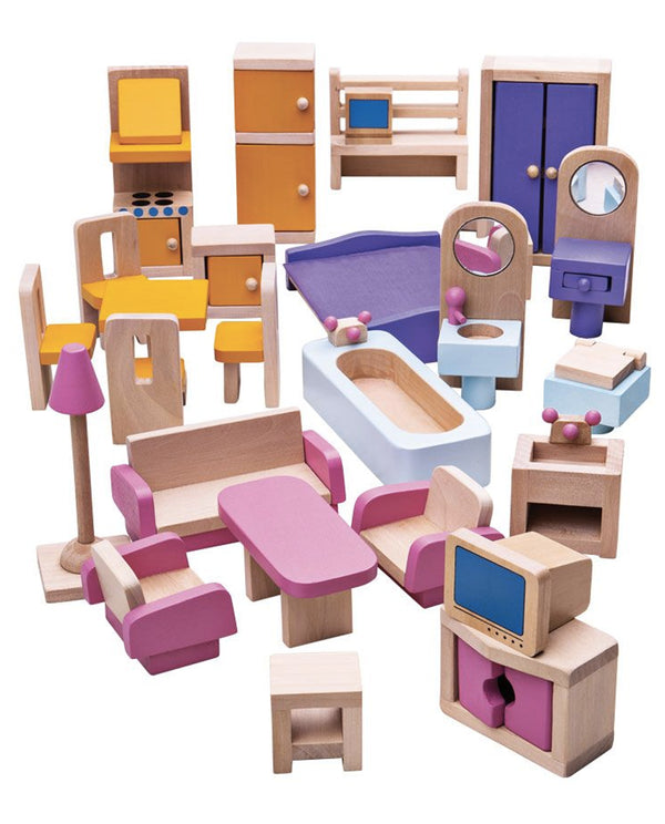 27pc Wooden Doll's House Furniture Set