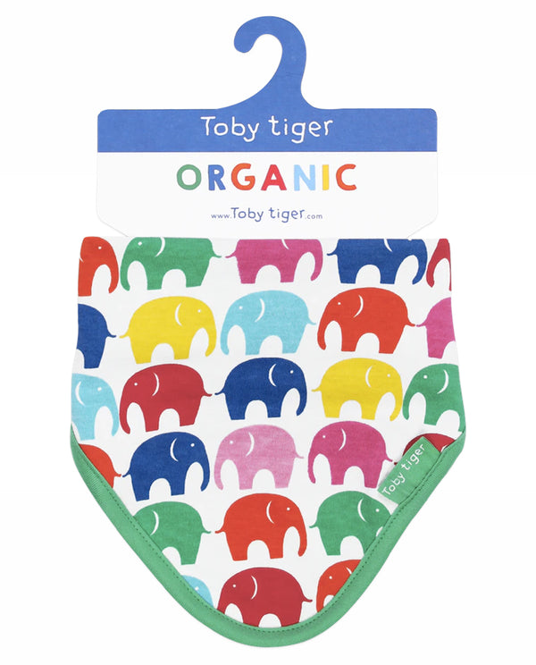 Organic Cotton Multicoloured Elephants Bib toby tiger