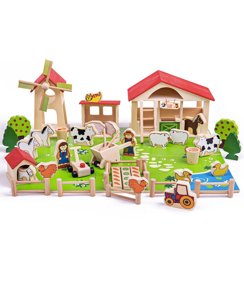 Bigjigs Wooden Play Farm Set