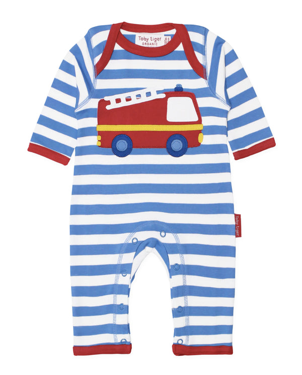 Toby Tiger Organic Cotton Fire Engine Sleepsuit