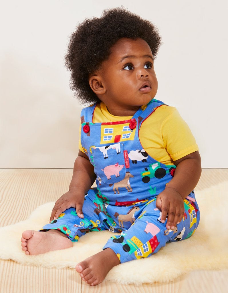 Organic Cotton Farm Design Dungarees