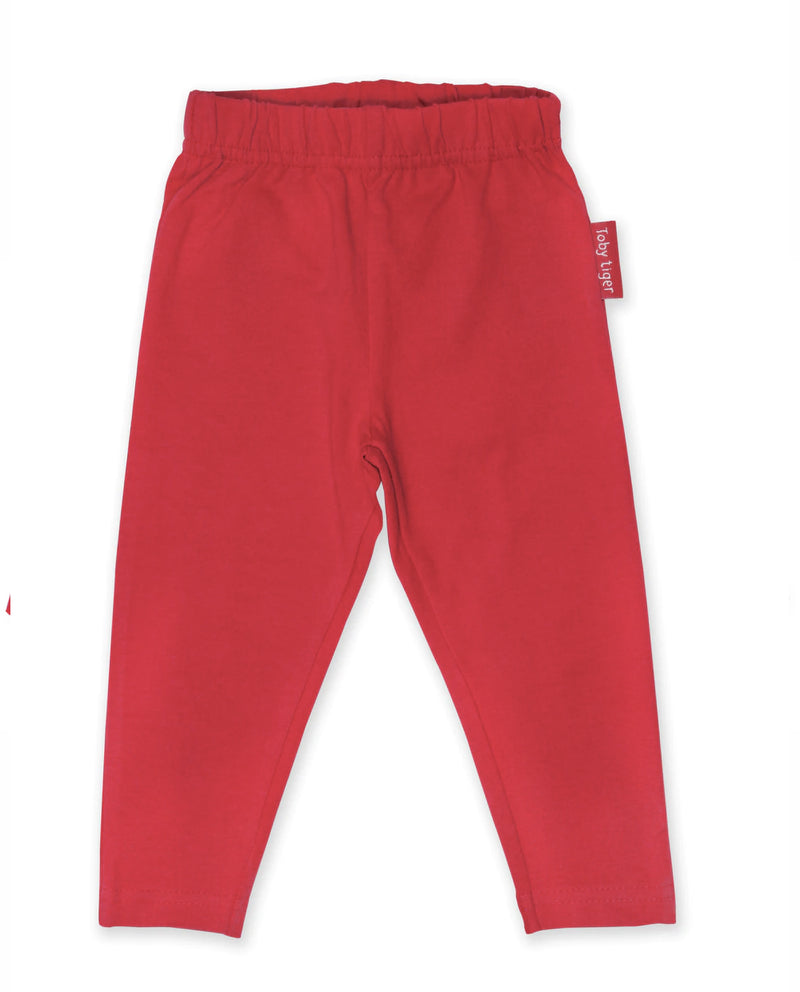 Toby Tiger Organic Cotton Red Leggings