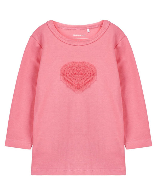Organic Cotton Tulle Heart Long Sleeved T-shirt