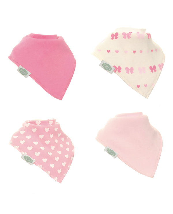 4pk of Hearts and Bows Bibs