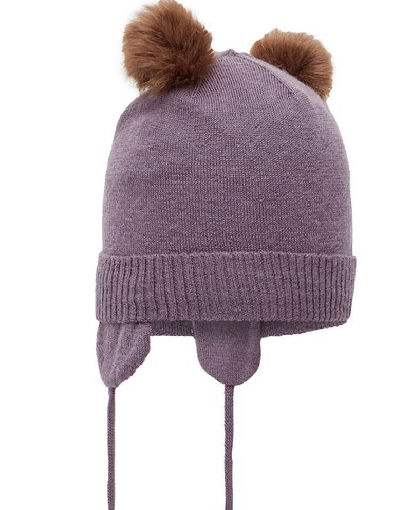 with ties Plum Knitted PomPom Hat
