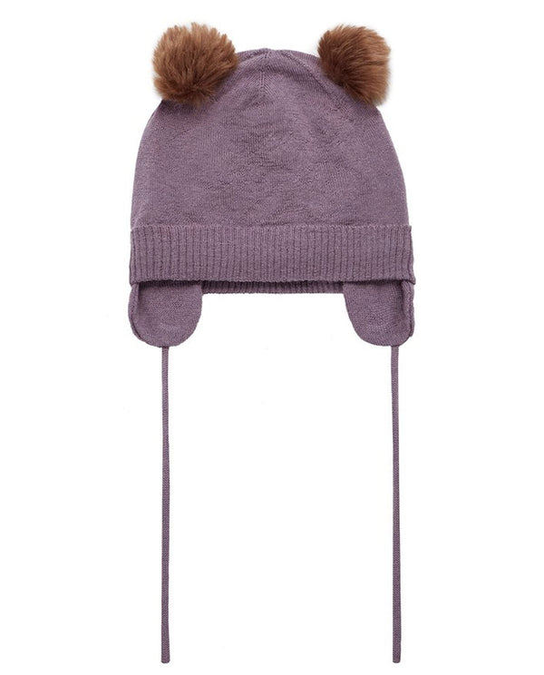 Plum Knitted PomPom Hat