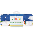 Toby Tiger Two Pack of Organic Cotton Rainbows and Clouds Muslins