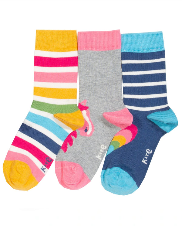 Kite organic cotton 3pk Rainbow Pony Socks