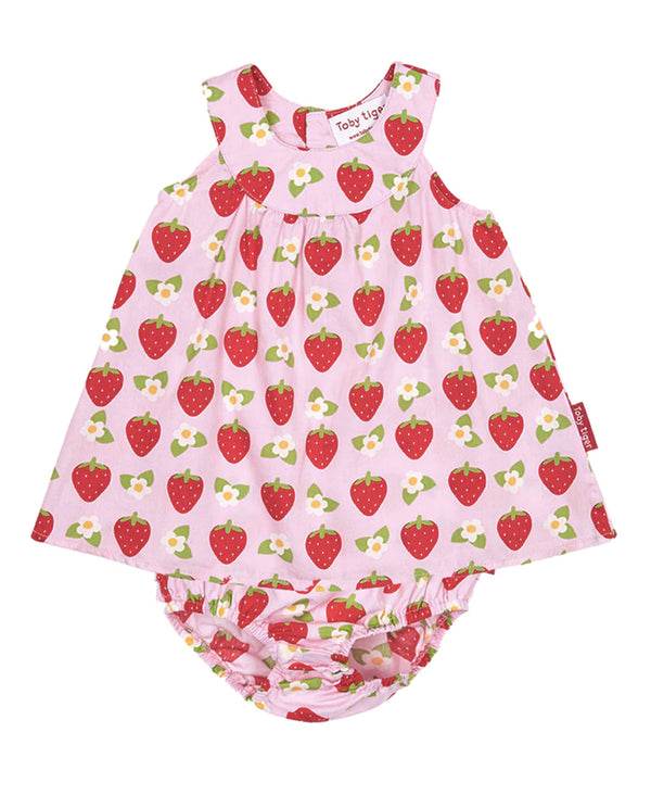 Toby Tiger Organic Cotton Strawberry Dress & Nappy Cover