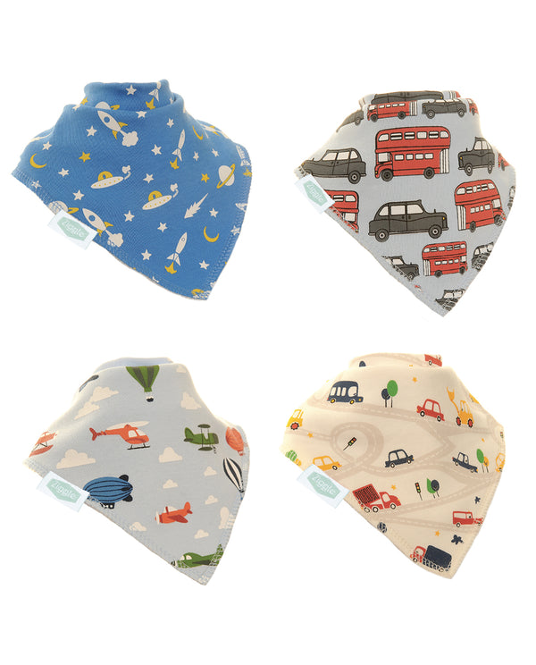 Ziggle 4pk of Transport Theme Bibs