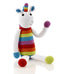 pebble toys Fair Trade Hand Knitted Rainbow Unicorn Rattle