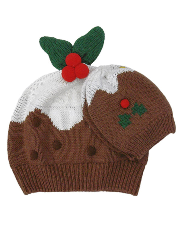 Knitted Christmas Pudding Hat & Mitten Set