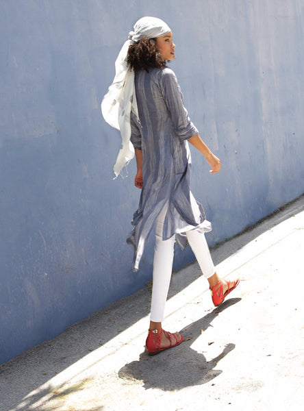 Brushstroke Denim Shirt Dress