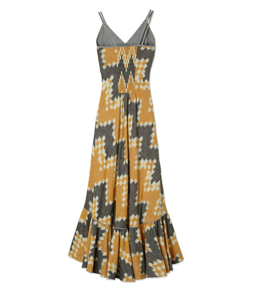 Reversible Ikat Maxi Dress-Yellow/Grey