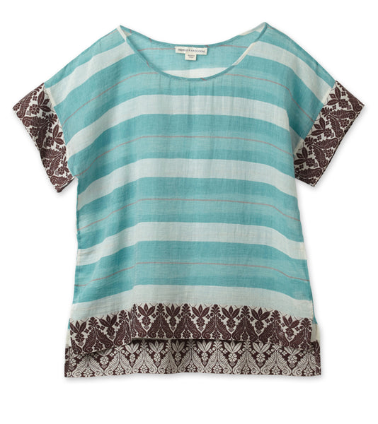 Bengal Border Crop Top - Mint