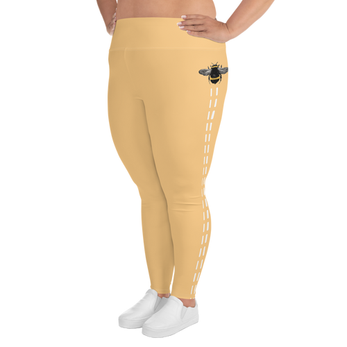 Yellow Bee Line Plus Size Leggings
