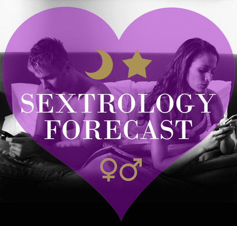 "Couple in bed on smartphones. ""Sextrology Forecast"""