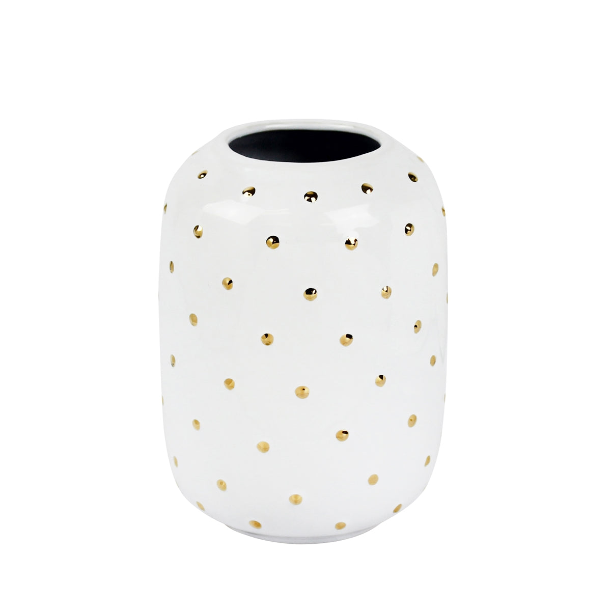 "White 7"" Vase With Gold Dots - Casa Muebles"