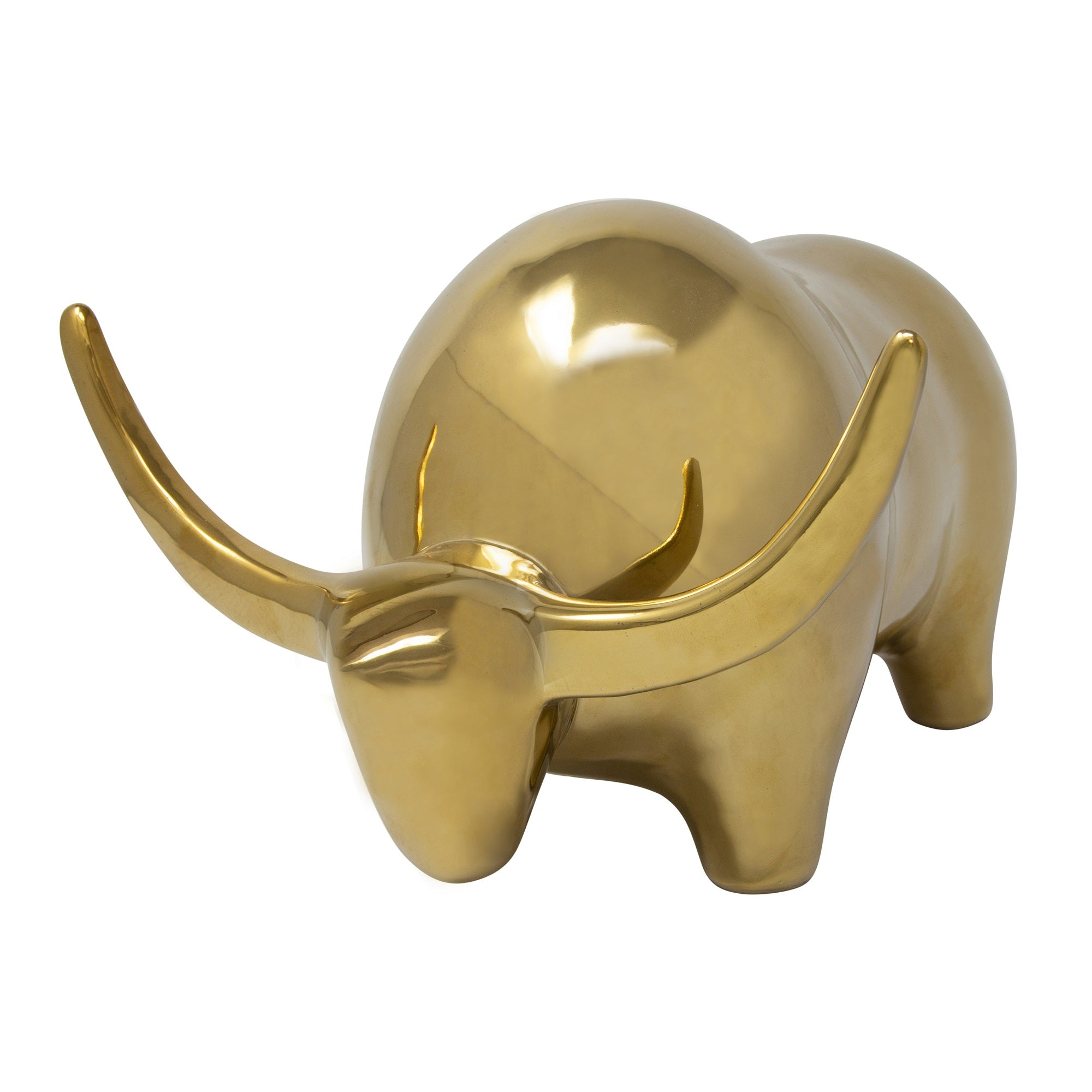 GOLD CERAMIC BULL, HEAD DOWN 6.5""