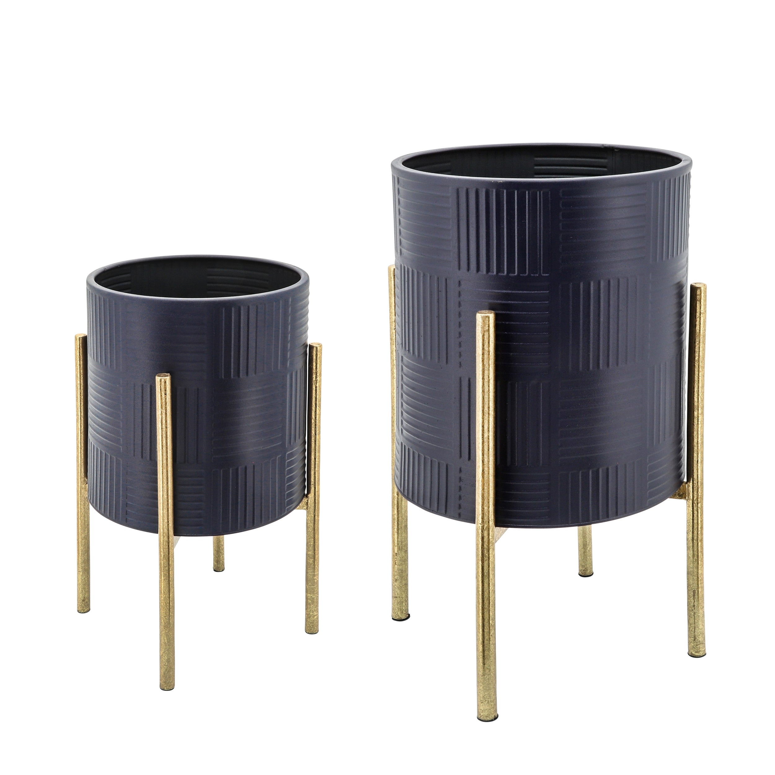 Set de 2 TEXTURED PLANTER ON METAL STAND, NAVY/GLD